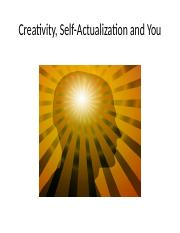 Chapter 1 - Creativity, Self-Actualization - Part I.pptx