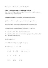 Thermodynamics and Kinetics- Study Guide- Phase Equilibria