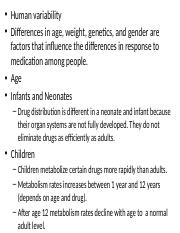 4. Factors limiting action of drugs