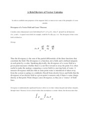 A Brief Review of Vector Calculus