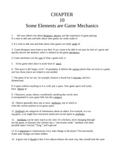 Chapter Ten - Some Elements are Game Mechanics
