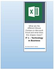 What are the different Mouse Pointers in Microsoft Excel and what does this shapes mean.docx