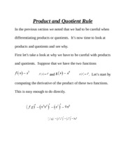 Product and Quotient Rule