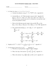 395 F11 Summary Quiz Solution