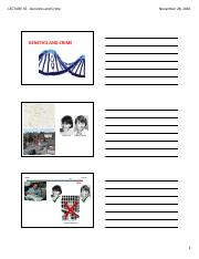 Lecture 35 - Genetics and Crime (Student Copy)