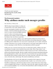 The Economist - Why airlines make such meagre profits