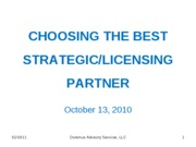 CHOOSING THE BEST PARTNER