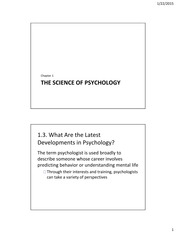 The Science of Psychology 2015 01 22