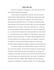 White Collar Jobs Essay