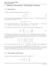Math 152 Matrice Introduction
