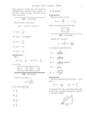 Homeworks on derivatives of inverse trig functions with answers