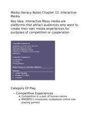 Media literacy Notes Chapter 12