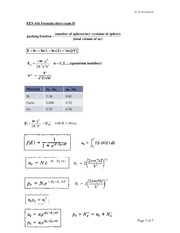 Formula sheet exam II