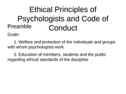 Ethical Principles of Psychologists and Code of Conduct