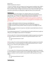 Bio151 F16 Practice Questions for Exam 3 Answer Key