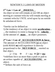 100713 Dynamics  NEWTONS 3 LAWS of MOTION notes w answers