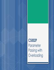 CS002P_W3 - Parameter Passing with Overloading
