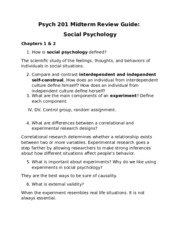 Psych 201 Midterm Review Guide-  Social Psychology