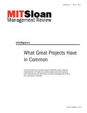 What Great Projects have in Common