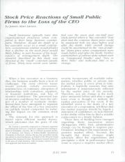Stock Price Reactions of Small Public Firms to the Loss of the CEO