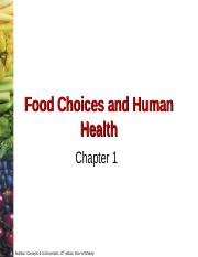 Chapter 1 - Food Choices and Human Health