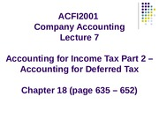 Lecture 7 - Accounting for  Income Tax Part 2 - Accounting for Deferred Tax