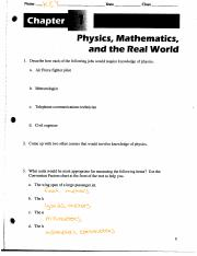 Physics, Math, and the Real World Solutions