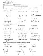 polynomial quadratic test review key