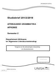 Afk 2602 Afrikaanse Grammatika University Of South Africa