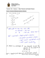 Chap 11A1 Vectors I Ratio Thm and Scalar Product_extension and self-prac solutions