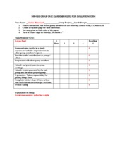 Group CASE .Peer Evaluation Form