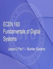 ECEN160 - Lesson 2 Part 1 - Number Systems