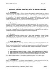 5. Assessing risks and formulating policy for Mobile Computing