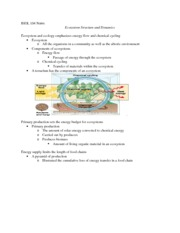 Ecosystem Structure and Dynamics notes