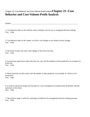 Chapter 21--Cost Behavior a