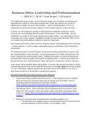 Revised team project - business ethics, leadership and professionalism updated 4-2-20.docx