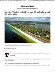 Massive 'Florida red tide' is now 90 miles long and 60 miles wide - LA Times