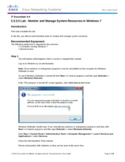 5.3.3.5 Lab - Monitor and Manage System Resources in Windows 7