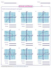 Domain And Range Of A Graph Worksheet