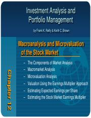Chapter 12 - Chapter 12 Macroanalysis and Microvaluation of