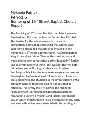 Bombing of 16th Street Baptist Church Report.docx