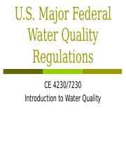 US Water Quality Regulations