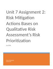 Unit 7 Assignment 2 - Risk Mitigation Actions Based on Qualitative Risk Assessment's Risk Prioritiza