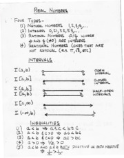 2007-08-20 Real Numbers, Intervals, & Inequalities