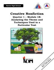 Creative-Nonfiction11-12_Q1W2_mod1B_Analyzing-the-Theme-used-in-the-text. V4.pdf