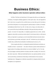 Critical Essay 1 - business ethics