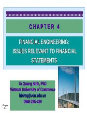 CHAPTER 4- Financial Engineering- Issue relevant to Financial Statements