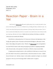 the cosmological argument reaction paper samuel adu lartey 4 pages brain in a vat reaction paper 1