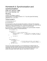 Homework on Synchronization and Communication