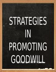 STRATEGIES IN PROMOTING GOODWILL OQUENDO